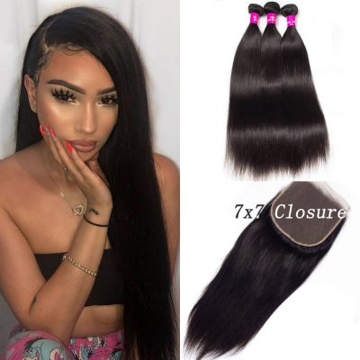 7x7 closure with bundles,7x7 lace closure straight,straight hair with 7x7 closure,bundles with 7x7 lace closure,7x7 closure with 3 bundles